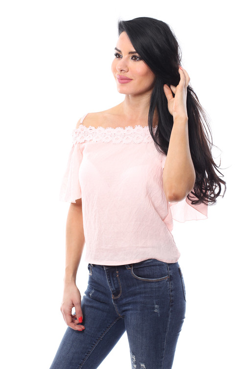 01509a27e5a4d4 Jessyss - Cold Shoulder Bardot Top With Lace Trim