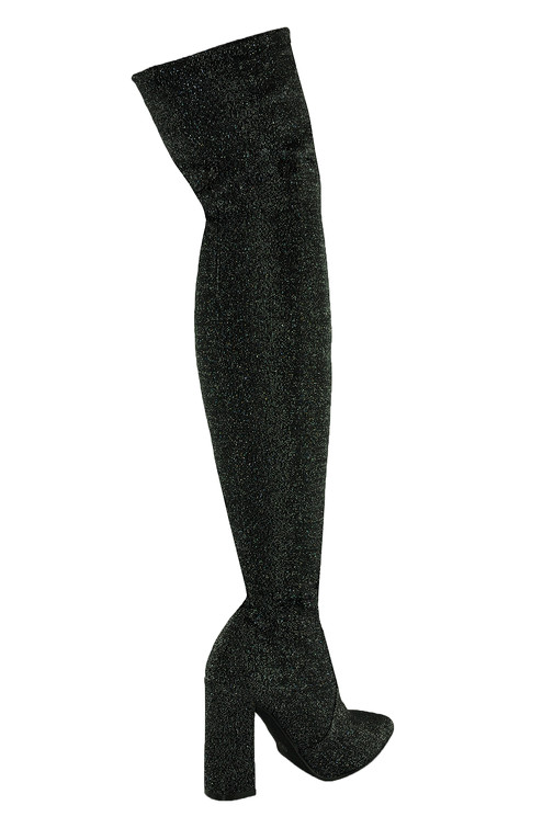 Stivali alti sopra il ginocchio in look lucido glitter | Jessyss