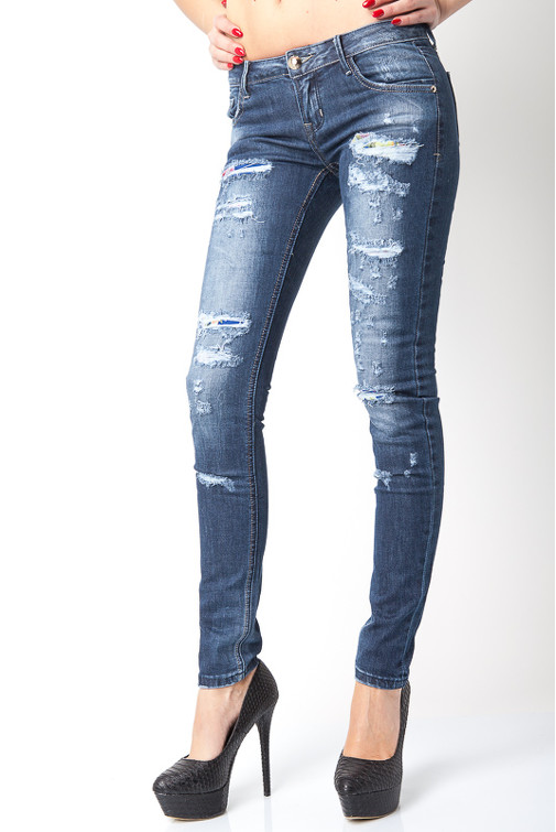 b4e9a7beb5a Jessyss - Dark Wash Ripped Skinny Jeans With Floral Lining